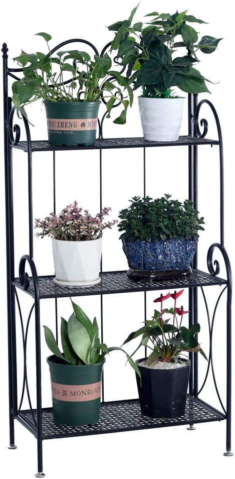 Manufacturer regenerated product JIAD Max 83% OFF 3-Tier Flower Metal Foldable Indoor Tiered and Plant Stand