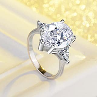 A.Minnymin 5ct Pear Cut Triangle Unique AAA CZ 925 Silver Women's Engagement Ring Size 4-9 (7)