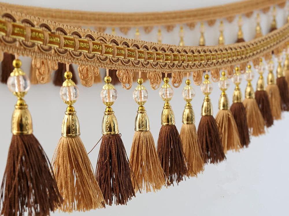 QUNLIPAI 6M Lot Oakland Mall cheap 13cm Wide Beads Curtai Tassel Ribbon Trim Fringe