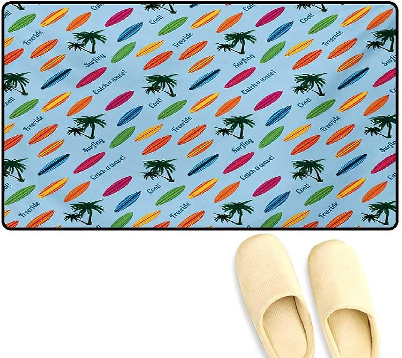 Door-mat,Exotic Hawaii Vacation Palm Trees colorful Boards Water Sports Fun Activities,Door Mats Inside Bathroom Mat Non Slip,Multicolor,24 x36