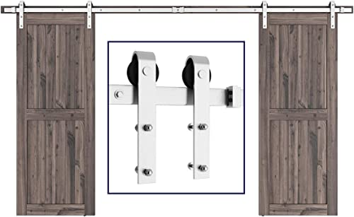 """popular SMARTSTANDARD 12ft Heavy Duty Double Door Sliding Barn Door Hardware Kit - Smoothly and online Quietly -Easy to install -Includes Step-By-Step Installation Instruction outlet sale Fit 36"""" Wide Door Panel(J Shape Hanger) online sale"""