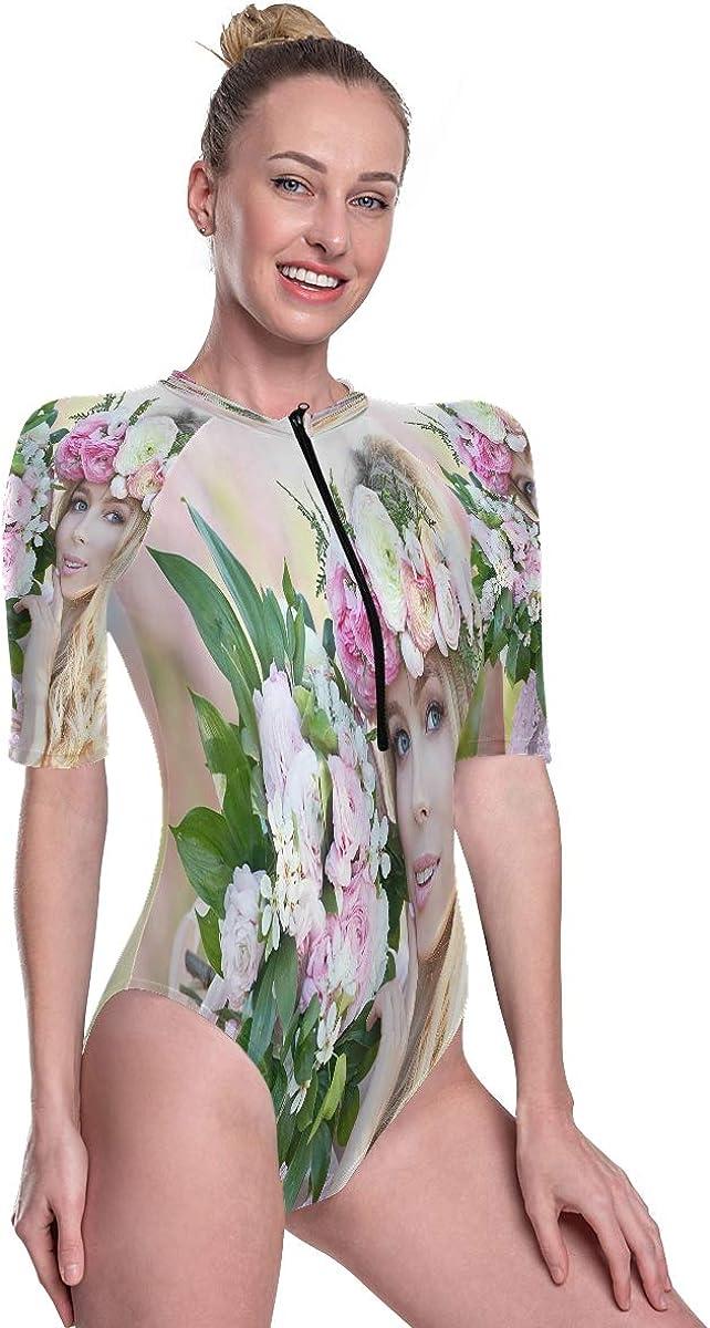 Womens Zip Up Printed Short Sleeve 1 Piece Rash Guard Swimsuit Young Beautiful Blonde Woman in Blooming Garden Swimwear