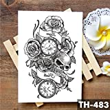 HXMAN 5pcs Alas De Pluma Cruz Acuarela Temporal Tatuaje Pegatina Guerrero Rosa Santo Impermeable Tatuajes Cuerpo Arte Brazo Falso Tatoo Hombres Mujeres 18-TH-483