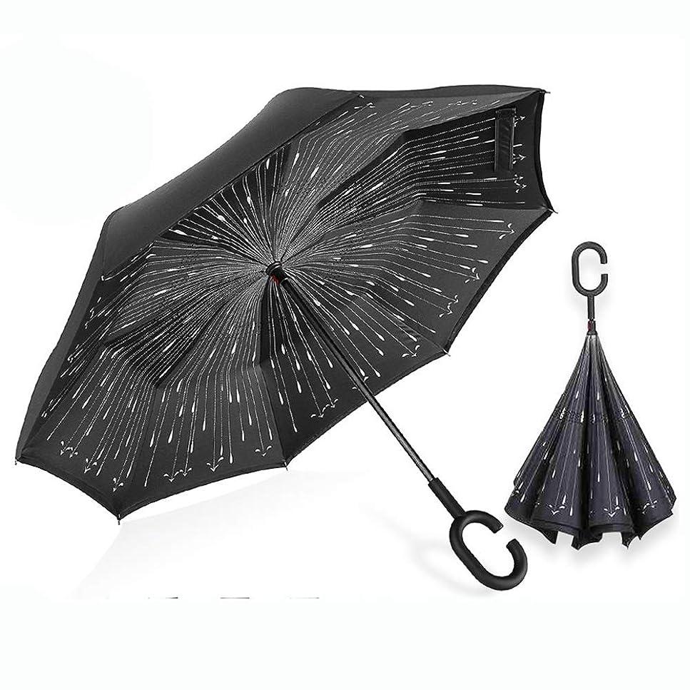 減る雪のイヤホン逆さ傘 逆さ 傘 車用 傘 逆転傘 逆さま傘 逆折り式傘 逆さに開く傘 逆さがさ 傘 (ブラック)