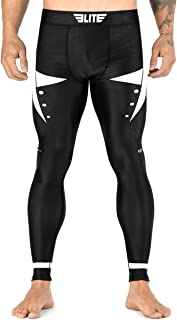 Elite Sports Men's BJJ Spats Leggings Tights, Best Jiu Jitsu MMA no Gi White spat Compression Pants for Men