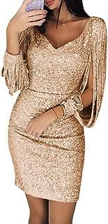 V-Neck Tassel Lantern Sleeve Dress Casual Dress (Color : Golden, Size : M)