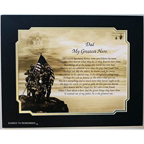 Army Gift For Dad My Greatest Hero Poem Great Idea Birthday Fathers Day