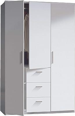 Armario tres puertas y tres cajones, acabado en color Blanco Brillo, medidas: 117 cm (Ancho) x 203 cm (Alto) x 52 cm (Fondo)
