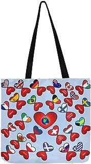 Valentine Heart Love World Earth Heart Butterflies Canvas Tote Handbag Shoulder Bag Crossbody Bags Purses For Men And Women Shopping Tote