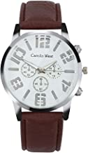 LUXISDE Quartz Watch Mens Digital Wristwatch Trend Outdoor Sports Quartz Watch Three Eyes Dial Casual Leather Belt Men's Watch