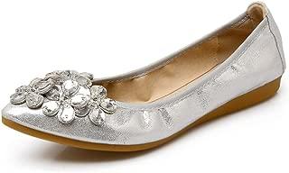 Womens Foldable Soft Pointed Toe Ballet Flats Rhinestone Comfort Slip on Flat Shoes
