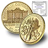 2021 AT Austria 1/10 oz Gold Philharmonic Coin Brilliant Uncirculated 10 Euros with Certificate of Authenticity by CoinFolio 24K € 10 BU