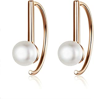 Silver Rose Gold Color Big Circle Geometric Stud Earrings For Women Shell Pearl Earings Female Jewelry