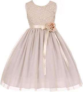 e78d36ab7d8 Little Girls Elegant Contrast 3D Lace Tulle Easter Graduation Flower Girl  Dress