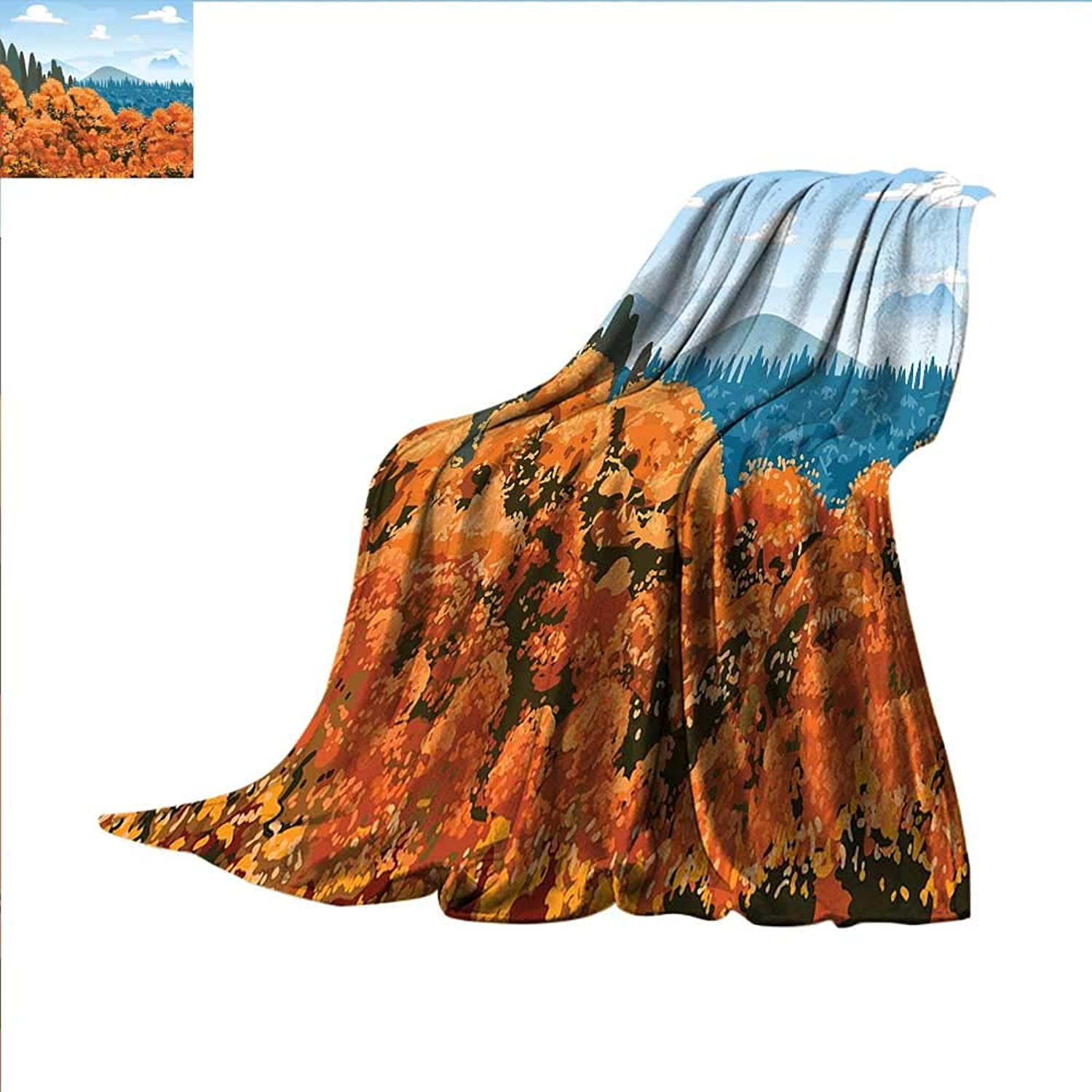 Smallbeefly Forest Digital Printing Blanket Artistic Display of Backwoods with Open Sky Mountains and Clouds Summer Quilt Comforter 62 x60  orange Pale bluee Army Green
