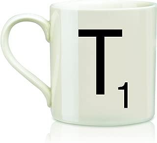 Scrabble Letter Ceramic T Scrabble Mug, Cream/Black (14 Ounces)