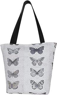 Lesif Einkaufstaschen, blau-braune Schmetterlinge, Segeltuch, Schultertasche, Einkaufstasche, wiederverwendbar, faltbar, Reisetasche, groß und langlebig, robuste Einkaufstaschen