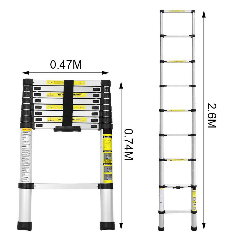 tragbar Teleskopleiter rutschfest Aluminium 150 kg maximale Belastung f/ür Dachboden//Kletter//Hausarbeit//Reparaturarbeiten kompakt 2,6 m sicher verschlie/ßbar