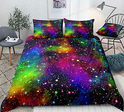 Prinbag Juego de Funda nórdica de Galaxia Colorida, Ropa de Cama para el Espacio Exterior, Funda de edredón de Cielo Estrellado de Nebulosa de Universo para niños 150x200cm