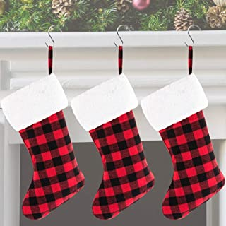 WXJ13 3 Pieces 16 Inches Christmas Red and Black Buffalo Plaid Stocking with Plush Cuff, Christmas Tree Hanging Ornaments Gift Stocking for Holiday Party