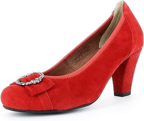 Damen Trachten Pumps mit Zierschnalle 3009226 - Rot - Dirndlschuhe