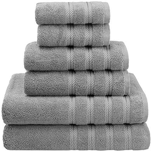 American Soft Linen, 100% Turkish Cotton 6 Piece Towel Set, Absorbent, Durable, Soft & Fluffy, Hotel & Spa Bathroom Towels, 610 GSM, 2 Bath 2 Hand 2 Wash Towels (Bath Linen Set, Rockridge Grey)