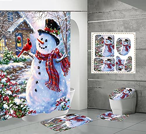 CQFFCG Juego de alfombras de baño 4 Piezas de baño de Serie navideña con Cortinas de Ducha Alfombrillas de baño Antideslizantes Impermeables Conjuntos(Forma 31)