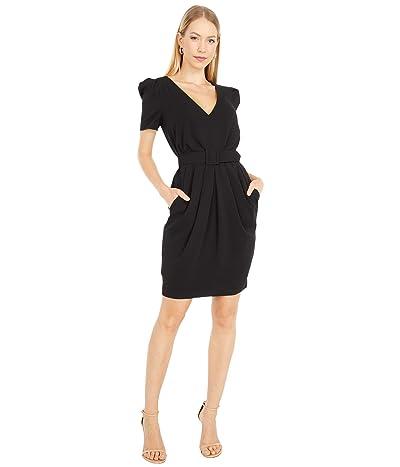 Badgley Mischka Odessa Pleated Crepe Dress (Black/Dark Emerald/Raspberry) Women