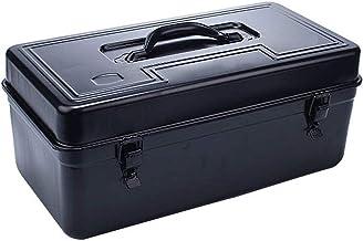 Draagbare gereedschapskoffer van dik metaal, met aparte afneembare onderdelenbox en kunststof handvat, robuuste gereedscha...