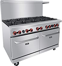 """Commercial Gas Range, 10 Burner Heavy Duty Range With 2 Standard Oven, 60"""" Natural Gas Cooking Performance Group for Kitch..."""