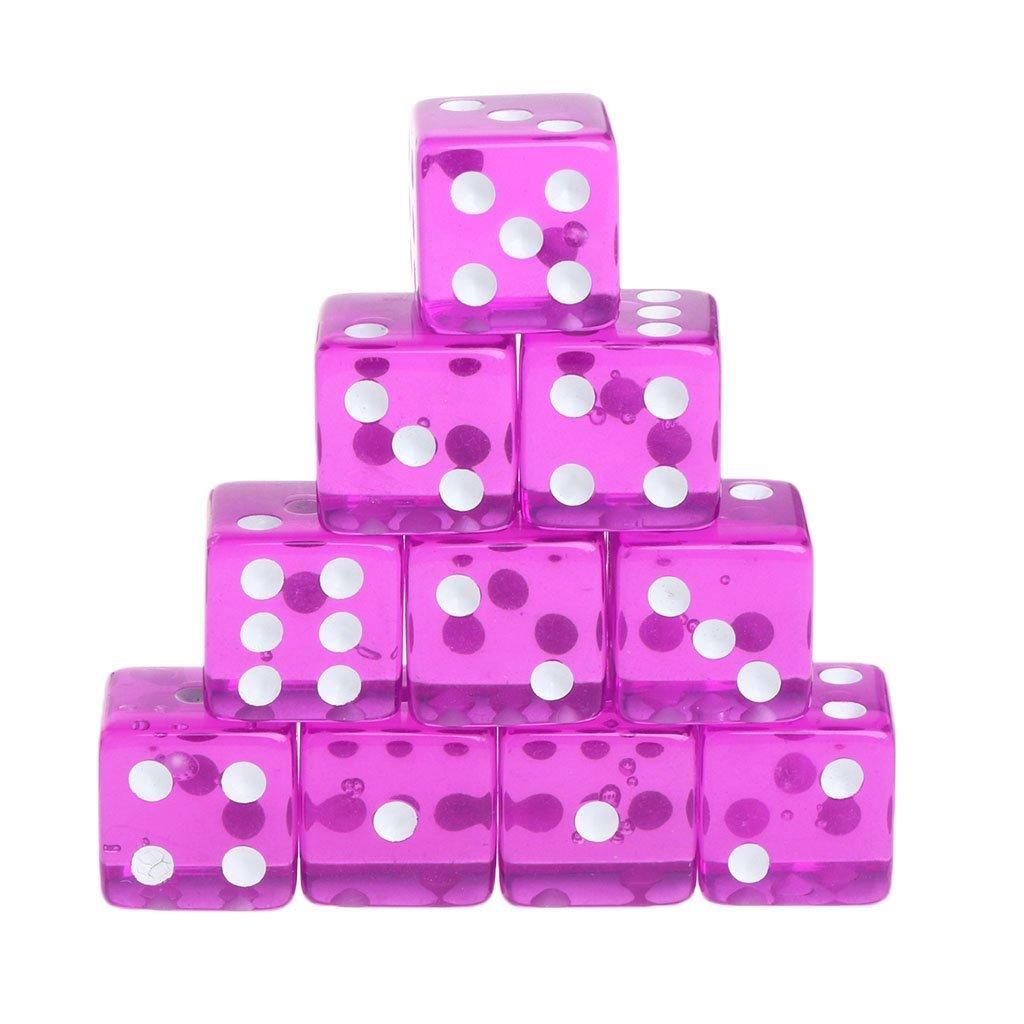 Kuvuiuee - 10 cubos transparentes con esquinas redondas y laterales de 15 mm, para juegos de mesa morado: Amazon.es: Hogar