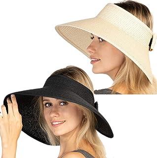 Women Sun Visor Hats Beach - Foldable Roll Up Wide Brim Bowknot Summer Straw Hat Cap Cruise wear for Womens