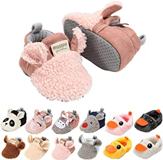 Unisex Baby Fleece Slippers Infant Boys Girls Cartoon Soft Sole Anti-Slip Moccasins - Toddler Stay on House Crib Shoes