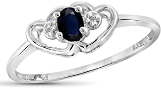 Jewelexcess 0.20 Carat T.G.W. Sapphire & Accent White Diamond Sterling Silver Heart Ring
