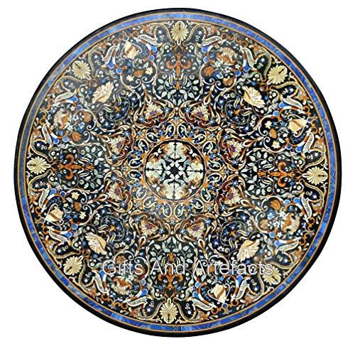 213 cm runder Konferenztisch schwarz Restauranttisch Inlay mit indischem Landhausstil Kunst und Handwerk