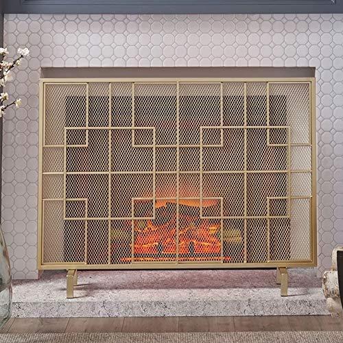 Funkenschutz Kamin YXX Modern Einzelpanel Kaminschirme für den Sommer, Gold Stehendes Tor des schmiedeeisernen Kamins mit Netzdekor