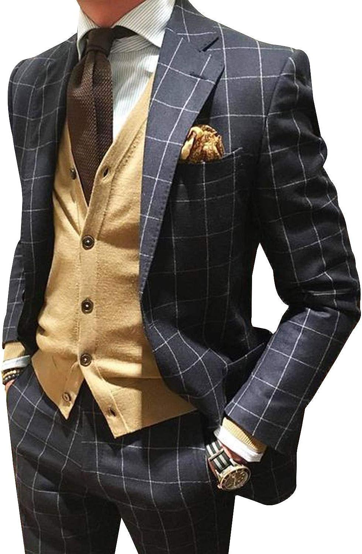 UMISS Men's Two Pieces Plaid Suit Wedding Tuxedos Jacket Pants