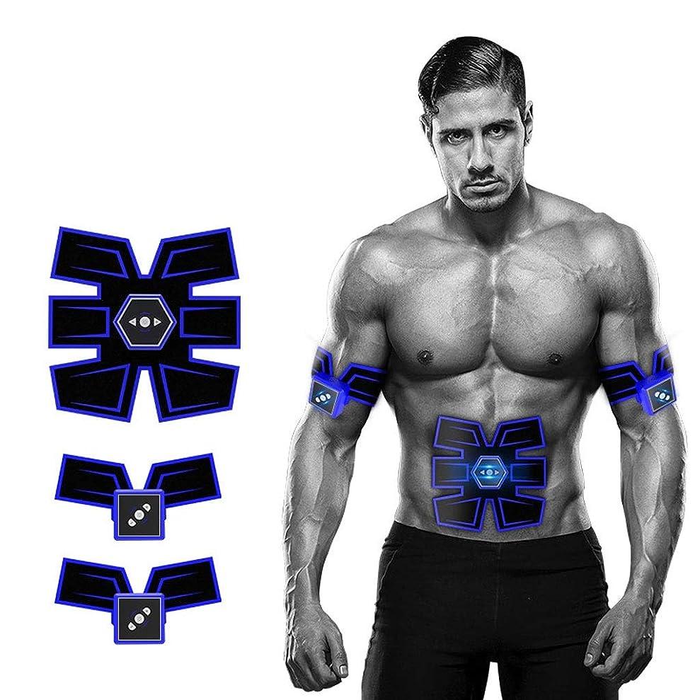 正確なチャート一族リモコン付き腹筋トレーナーフィットネストレーニングギアEMSマッスルスティミュレーター - インテリジェントボイスブロードキャスト&USB充電付きアルティメット腹部スティミュレーター