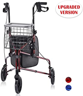 Upgraded Version ! Health Line Lite Folding 3 Wheel Aluminum Rollator Walker Lightweight with Bag and Basket, Flame Red