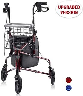 Upgraded Version ! Health Line Lite Folding 3 Wheel Aluminum Rollator Walker Lightweight with Bag and Basket, Flame Red