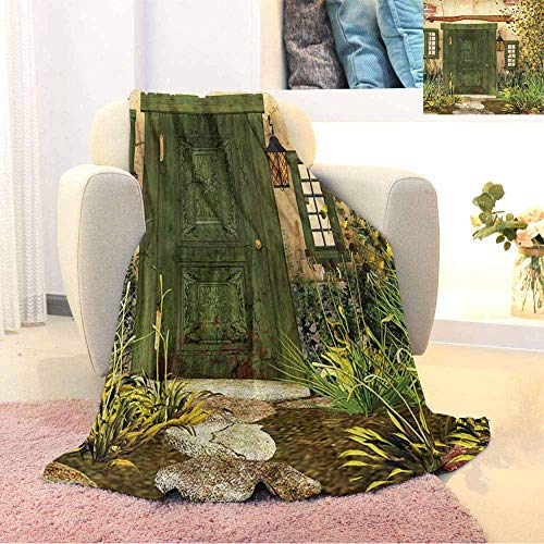 Rustic Luxury Special Grade Blanket Cottage Door Overgrown Bushes Grass Tree Garden Brick Fairy Tale Countryside Multi-Purpose use for Sofas etc. W55 x L55 Inch Green Ivory Yellow