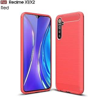 Realme XTためのテクスチャカーボンファイバーTPUケースをブラッシュ brand:TONWIN (Color : Red)