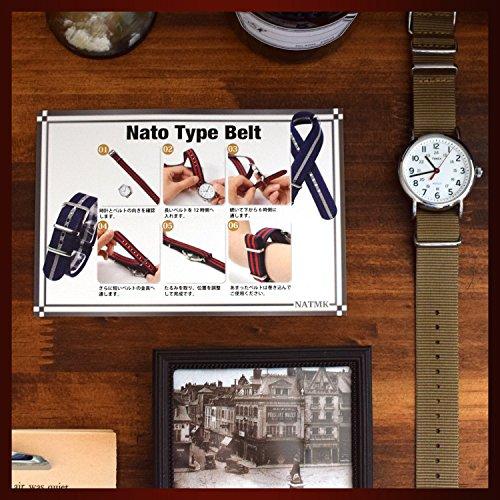 『NATMK 時計ベルト NATO ブラックバックル ナイロン ストラップ 取付マニュアル付 (20mm, カーキグリーン)』の3枚目の画像