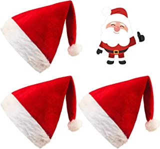 GL-Turelifes 3 Pack Large Size Christmas Hats High Grade Double Red Velvet Santa Hats with White Plush Cuffs for Adults and Children (3PCS)