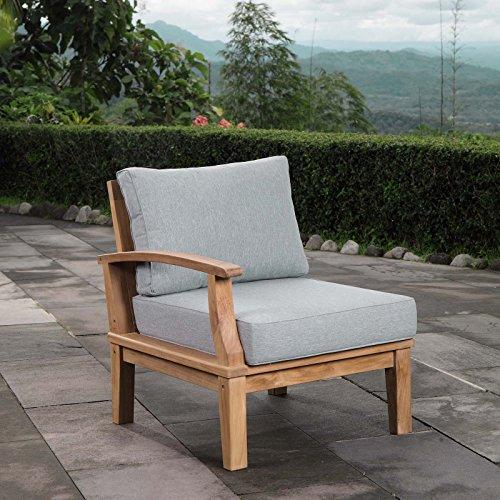Modway EEI-1148-NAT-GRY-SET Marina Premium Grade A Teak Wood Outdoor Patio, Left-Facing Sofa, Natural Gray