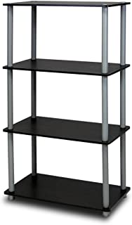 Furinno (99557BK/GY) Turn-N-Tube 4-Tier Multipurpose Shelf Display Rack – Black/Grey