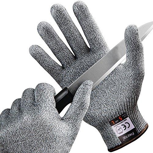 FREETOO Gants Boucher, Gants Anti-Coupure Protection De Cuisine Gants Bricolage- Résistant, Souple, Flexible, Antidérapant, Lavable Et Vert pour Aliments (L)