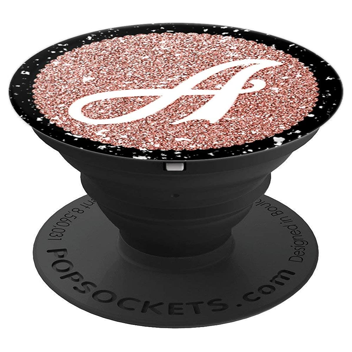 First & Last Initial Monogram Letter A on Rose Gold Shimmer - PopSockets Grip and Stand for Phones and Tablets
