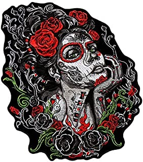 Hot Leathers, SUGAR SKULL WOMAN, Premium Quality Iron-On / Saw-On, Heat Sealed Backing Rayon PATCH - 4