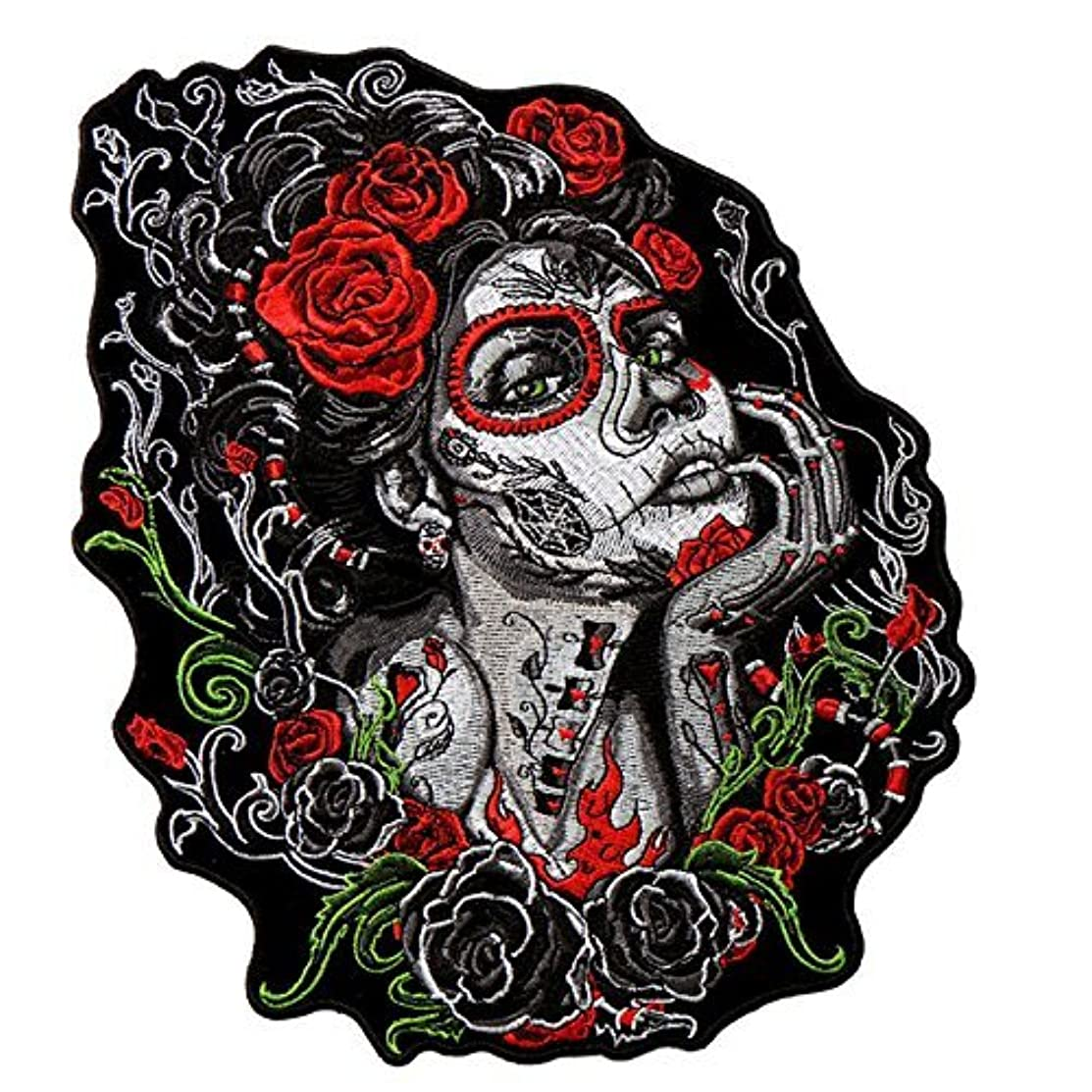 Hot Leathers, SUGAR SKULL WOMAN, Premium Quality Iron-On / Saw-On, Heat Sealed Backing Rayon PATCH - 8